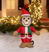 Holiday 4andrsquo Light-up Happy Monkey Christmas Airblown Inflatable Lawn Decoration