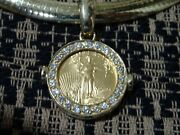 Ladies Diamond Custom Coin Slide On 14kt Omega Chain Even Hindged To Fit Pearls