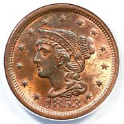 1853 N-29 R-3 Anacs Ms 63 Rb Braided Hair Large Cent Coin 1c