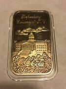 Coca Cola 75th Silver Bar Columbia Sc 24k Gp Stamped 24k Gold Proof
