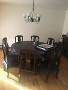 Antique Hand Carved Chinese Dining Room Table Set