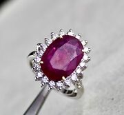 Fine Natural Heated Ruby Oval 6.67 Carats Gemstone Diamond 18k Gold Ladies Ring