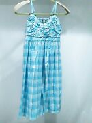 Cg Sport Womens Size S Light Blue And White Plaid Sundress With Smocked Back Nwt