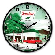Sinclair 2 Gas Service Station Game Room Man Cave Backlit Led Lighted Wall Clock