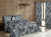 Rustic Mountain Lodge Quilt Bedding Set Cabin Woods Moose Bear Black And Grey