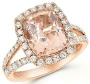 Large 4.53ct Diamond And Morganite 14k Rose Gold Cushion And Round Engagement Ring
