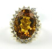 Oval Orange Citrine And Diamond Halo Solitaire Ring 14k Yellow Gold 14.73ct