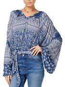 Nwt Free People Weekend Warrior Floral Print Top Shirt Blouse Blue M Open Back