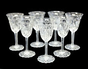 7 Antique Continental Rock Crystal Cut Glass Sherry Wine Goblets