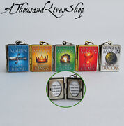 A Song Of Ice And Fire Book Locket Quote Inside Charm Keyring Pendant Necklace