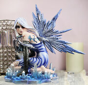 Ebros Elemental Ice Goddess Blue Gothic Fairy With Baby Dragon Hatchling Statue