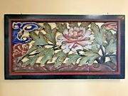 Antique Chinese Carved Wood Polychrome Temple Ventilation Panel Lotus Flower