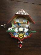 Small Cukoo Clock Vintage Needs Repair, Complete, Made In Germany