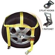 Over Tire Ratcheting Web Auto Car Vehicle Ratchet Tie Hold Down Strap Set