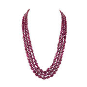 Oval Cut 1013.30ct Natural Deep Red Ruby Cabochon Beaded Necklace In Three Row