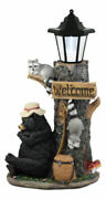 Ebros Napping Bear With Raccoon Friends Solar Lamp Statue 18.5h Home Decor