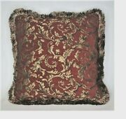 Red And Gold Leaf Floral Chenille Decorative Throw Pillow With Fringe For Couch