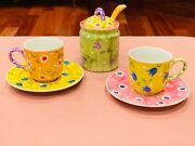 Dipinto A Mano Tea Set With 2 Cups, Saucers And Sugar Bowl With Lid And Spoon