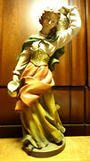 Vintage 12 Wooden Hand Carved Woman Girl Water Bearer Statue Figurine Gift