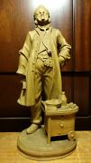 Antique 10 Anri Hand Carved Wood Doctor Physician Surgeon Statue Figurine Gift