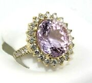 Oval Pink Kunzite And Diamond Halo Solitaire Ring 14k Yellow Gold 12.84ct