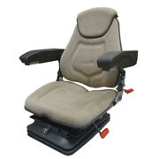 Faa1220 Tractor Seat Assembly Air Ride Head Rest Armrests Lumbar Brown Fabric