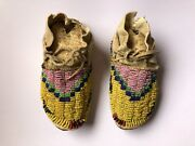 Antique Native American Sioux Cheyenne Beaded Kids Moccasins