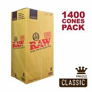 Raw 1400 Classic King Size Cones, 109mm Pre Rolled Natural Cones, W Gallery Box