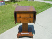 Tiger Oak Two Drawer Drop Leaf Lamp Table Work Table Circa 1920