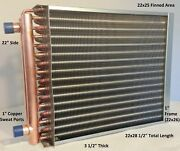 22x25 Water To Air Heat Exchanger1 Copper Ports W/ Ez Install Front Flange