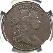 1802 S-240 R-3 Ngc Vf 30 Draped Bust Large Cent Coin 1c