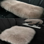 Light Grey Car Chair Sheepskin Wool Soft Seat Covers Cusion Pad Front+rear