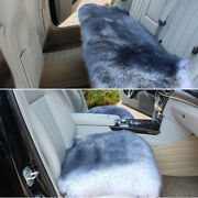 White+grey Soft Car Chair Sheepskin Wool Seat Covers Cusion Pad Front+rear