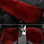 Red Soft Car Chair Sheepskin Wool Seat Covers Cusion Pad Front+rear Covers