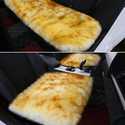 White+golden Soft Car Chair Sheepskin Wool Seat Covers Cusion Pad Front+rear