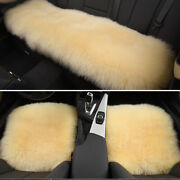 Beige Soft Car Chair Sheepskin Wool Seat Covers Cusion Pad Front+rear Covers