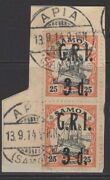 Samoa Sg105 1914 3d On 25pf Black And Red/yellow Fine Used Pair On Piece