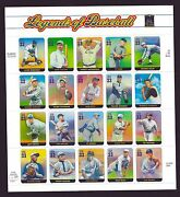 Us Scott 3408 33andcent Legends Of Baseball Pane Of 20 Types Mnh Plus Free Gift