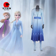 Elsa Cosplay Costume Anime Snow Queen Princess Dress Blue Outfit Party Gown Kids