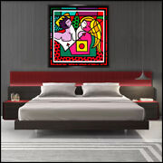Romero Britto Large Color Serigraph After Making Love Signed Modern Painting Art
