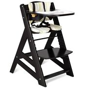 Baby High Chair Wooden Adjustable Height With Removeable Tray Dining Table Brown
