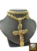 Real 10k Gold Nugget Jesus Crucifix Cross Pendent Charm With 24 Inch Rope Chain.
