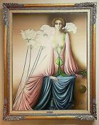 Philippe Auge French Art Deco Style Large Framed Signed Oil Painting Of A Woman