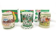 Budweiser St Patrickand039s Day 95 96 97 98 4 Tip The Hat Erin Go Steins Mugs Lot Set