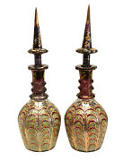 Pair Large Bohemian Cranberry Glass And Enamel Hand Cut Persian Decanters C1920
