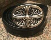 Authentic Rare Petite Chrome Hearts Sterling Oval Cross Buckle With Black Belt