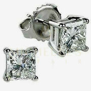 Enhanced Solitaire Diamond Stud Earrings 2.50 Ct Princess Cut 14k White Gold