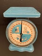 Vintage Baby Scale Blue 1940s Nursery Decor Baby Working Rough Condition