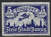Danzig Stamps 1921 Mi 70u Imperforated Mlh Vf Airmail