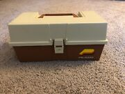 Vintage Plano Fishing Tackle Box Lures Fisher Man Storage Tote Rare Double Deck